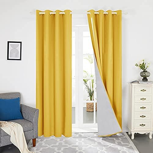 Deconovo Cortinas Dormitorio Moderno para Ventanas de Habitación Juvenil con Ollados 2 Piezas 132x214cm Amarillo