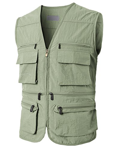 H2H Mens Casual Work Utility Hunting Travels Sports Mesh Vest with Pockets Black US XL/Asia XXL (KMOV080)