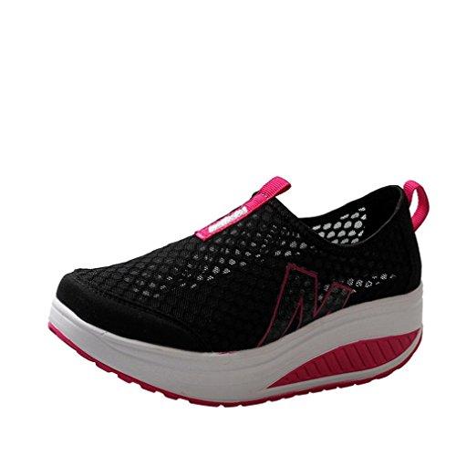 Zapatos De Mujer,ZARLLE Mujer Adelgazar Zapatos Sneakers para Caminar Zapatillas Aptitud CuñA Plataforma Zapatilla De Deporte Running Zapatillas Sacudir Casual Zapatos Sneake (38 EU, Negro)