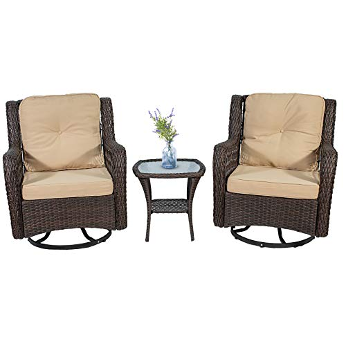 N\A Three-Piece Rattan Wicker Terrace Tavern Suite, with 2 360-degree Swivel Wicker Patio Chairs, Thick Cushions and Tempered Glass Coffee Table (Beige)
