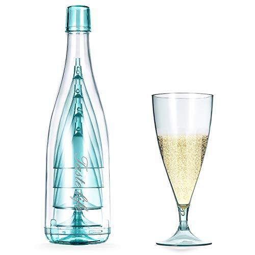 Lanthour Plástico Copas para vino tinto, Copas Vino Cristal Desmontable, BPA Gratis Irrompible Vaso de Vino, Portátil Copas de Vino Blanco con botella para bebidas, champán, cóctel, juego de 5(Azul)