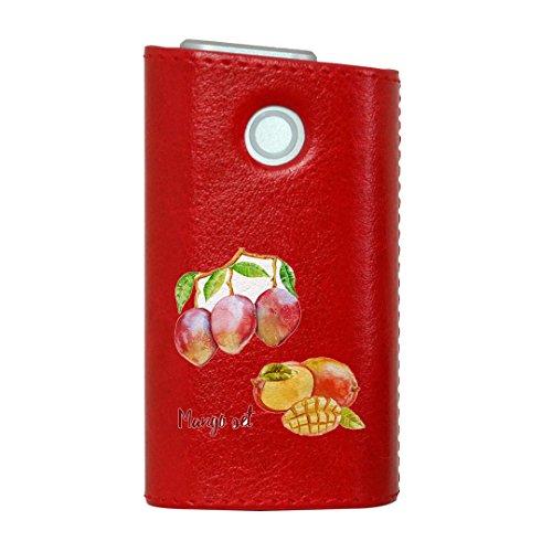 glo グロー グロウ 専用 レザーケース レザーカバー タバコ ケース カバー 合皮 ハードケース カバー 収納 デザイン 革 皮 RED レッド マンゴー 果物 夏 014791