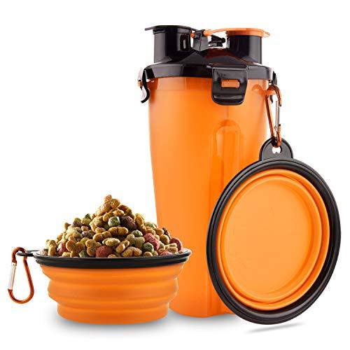 MATT SAGA Hund Trinkflasche und Futterflasche 2-in-1 mit 2 Faltbar Hunde Reisenapf Tragbare Hundewasserschüsseln zum Gehen, Wandern & Reisen (Orange)