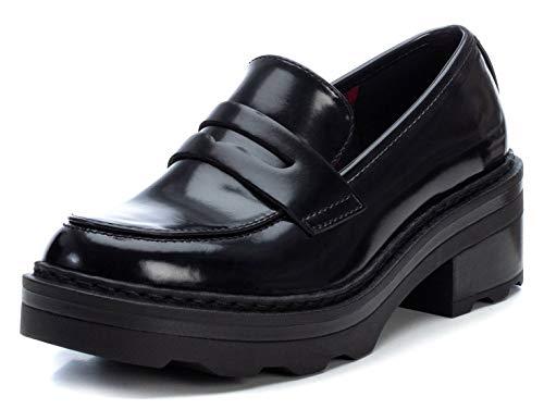 XTI - Zapato mocasín para Mujer - Tacón Cuadrado - Negro - 39 EU