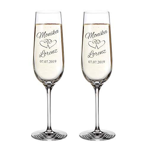 AMAVEL Set 2 Calici con Incisione Personalizzata con Nomi e Data, Motivo Cuori, Bicchieri in Vetro per Sposi, Flute da Spumante, Idee Regalo Matrimonio o Anniversario per Coppie