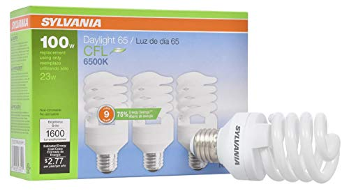 SYLVANIA Compact Fluorescent Spiral T2 Light Bulb, 100W Equivalent, Efficient 23W, 1300 Lumens, Medium Base, Frosted, 6500K, Daylight - 3 Pack (26352)