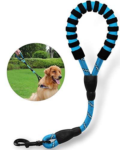 TagME Reflektierend Kurzführer Hundeleine, Komfortabler Gepolsterter Griff, Seil Hundeleine für große Hunde 40cm,Blau