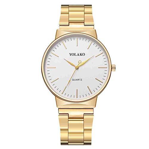 WMYATING Exquisito, Hermoso, decente, novedoso y único. Relojes de Pulsera Relojes Mujeres Reloj Reloj de Correa de Acero Inoxidable Reloj de muñeca analógica Relojes para Mujer (Color : Gold)