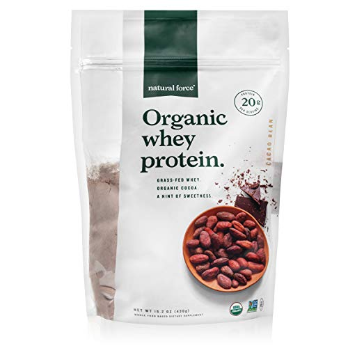 Natural Force® Organic Whey Protein Powder *RANKED #1 BEST TASTING* Grass Fed Whey – Undenatured Whey Protein – Raw Organic Whey, Paleo, Gluten Free Natural Whey Protein, Cacao Bean, 15.2 oz.