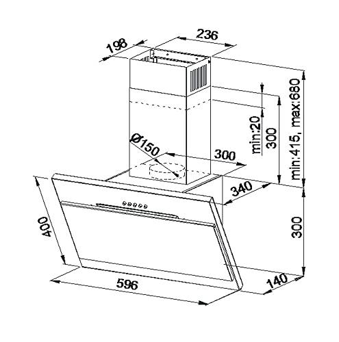 HAAG Vertikal Weiß + Glas + LED Dunstabzugshaube – Kopffrei – Wandhaube - 2