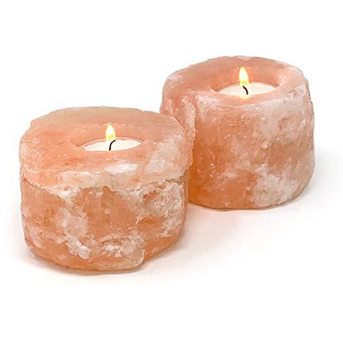 joeji's Kitchen Pack of 2 Himalayan Salt Candle Holder- Pink Himalayan Salt, Natural Salt Tea Light Holders