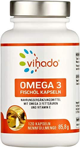 Vihado Omega 3 Kapseln mit Fischöl – hochdosierte natürliche Omega 3 Fettsäuren – für einen normalen Cholesterinspiegel – mit Vitamin E für optimierte Bioverfügbarkeit – 120 Kapseln
