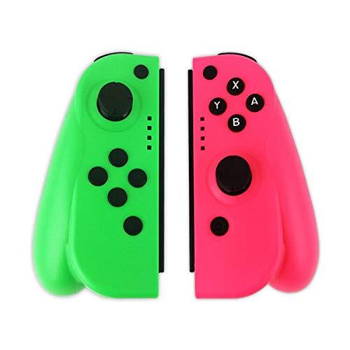 KAMLE Mandos Switch para Switch Wireless Bluetooth Controller Gamepad Joystick Controlador De Reemplazo Izquierdo Y Derecho para Joy, Doble Vibración y Giroscopio de 6 Ejes (L) Verde/ (R) Rojo