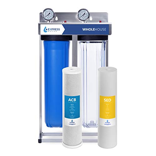 """Express Water Whole House Water Filter – 2 Stage Home Water Filtration System – Sediment and Carbon Filter – Includes Pressure Gauge, Easy Release, and 1"""" Inch Connections"""