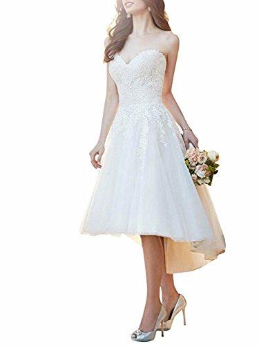 Cloverbridal dames kanten Hi-Lo trouwjurk Standesamt Bruidsjurken Korte