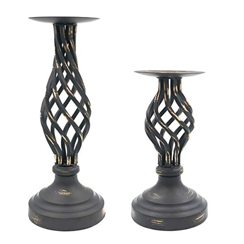 2er Set klassische Retro Deko Kerzenhalter Home Decor Stumpenkerzenständer für Familie Atmosphäre Dekoration, Ideal für LED und Stumpenkerze, Geschenke für Hochzeit, Party, Zuhause, Spa, Reiki, Aromat
