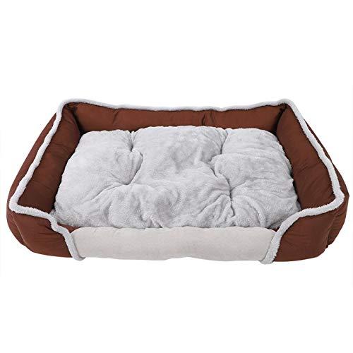 01 Sofá Cama para Mascotas, sofá Duradero para Mascotas, Cama Cuadrada para Mascotas con diseño Antideslizante con Telas, jaulas para Perros, Camas para Gatos,(Brown, XL)