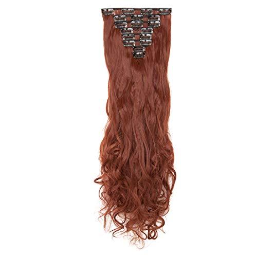 Postiches Tête Complète 8 Pièces 18 Clips Extension a Clip Cheveux Naturel Bouclés Ondulés épais Synthétiques 60cm Auburn au gingembre