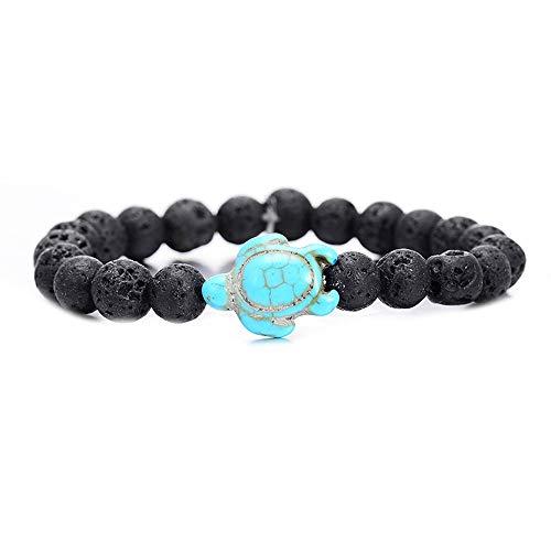 WHFDRHSZ Armband Zomer Stijl Zeeschildpad Kralen Armbanden Voor Vrouwen Mannen Klassiek 8 Mm Blauw Natuursteen Elastische Vriendschap Armband Strand Sieraden