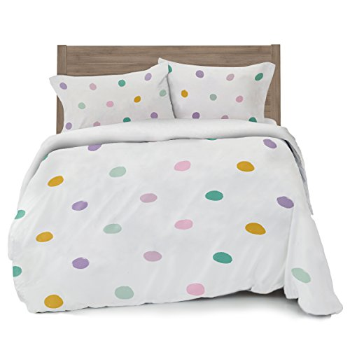 Colorful Pink, Seafoam Teal, Yellow and Purple Polka Dot Duvet Cover Full/Queen Size Bedding, White with Grey