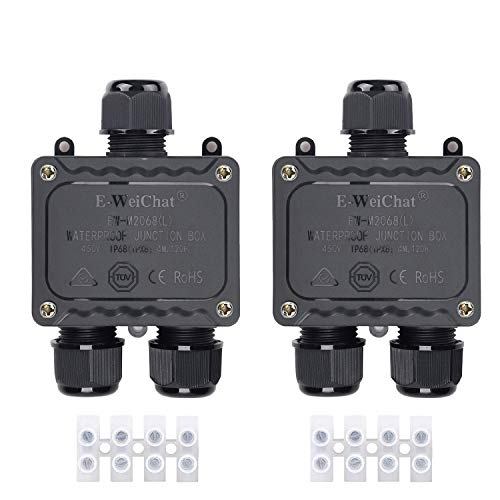 Caja de conexiones IP68 resistente al agua 3 conectores de cable para exteriores con 3 cables para caja eléctrica pequeña de 4mm a 14mm de diámetro con terminal exteriores | Luz | Garten | piscina