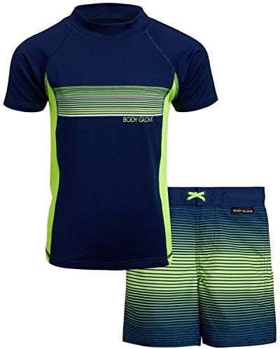 Body Glove Little Boys 2 Piece Rash Guard Swimsuit Set Size 5 Navy Green product image