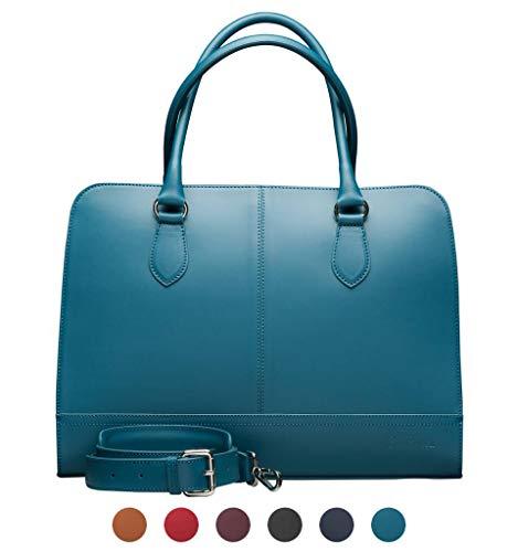 Su.B 15,6 Pollici Borsa per Laptop con La Cinghia Trolley per Donne - Pelle in Crosta - Ventiquattr'ore Professionale - Borsa del Messaggero - Turquoise