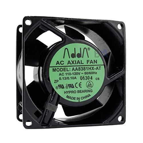 Adda Ventilador 80 mm 80 x 80 x 38 AA8381HX-AT 110 V 120 V AC Air Fan 0,13 A 8 cm 2 hilos (L/N) Refrigeración 80 mm x 38 mm