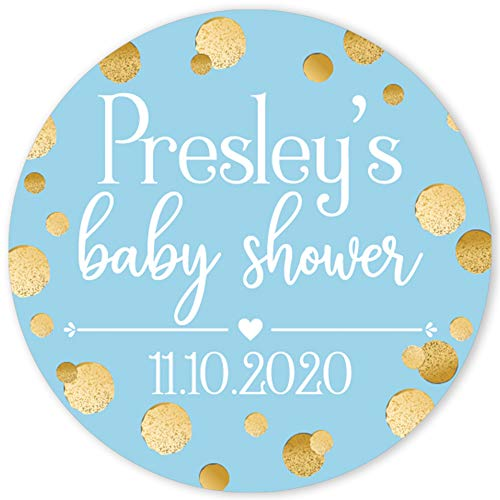 Personalized Blue and Gold It's a Boy Baby Shower Party Favor Labels - 40 Stickers