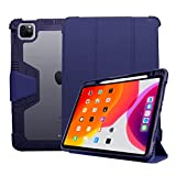 """ProElite Rugged Shockproof Armor Smart flip case Cover for Apple iPad Air 4 10.9"""" with Pencil Holder, Dark Blue case for i pad air 2 Apr, 2021"""