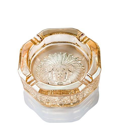 JXLBB Huishoudelijke Antieke Ronde Mode Trend Asbak Persoonlijkheid Kristal Glas Asbak Gouden Champagne Kristal Glas Creatieve Indiase Stijl