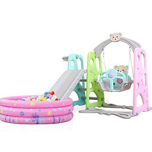 Hadaiis Toddler Slide and Swing Set, 3 in 1 Kids Play Climber Slide Playset with Basketball Hoop and Extra Long Slide for Boys Girls Indoor and Outdoor Play, Ages 3 Years to 9 Years Old [UK IN STOCK]