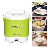 eewopjkj Mini Olla arrocera a Vapor de 1.5L vaporera eléctrica de 300 vatios para Alimentos Fiambrera Calentador de Alimentos Multifuncional portátil para cocinar arroz gachas de Avena Huevos n