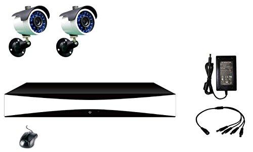 Proxe 433310 Kit DVR AHD con Funzione Cloud Gratuita a 4 canali compreso di Hard Disk 1TB+ 2 telecamere a 700TVL da Esterno alimentatori Inclusi, Nero