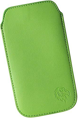 Dealbude24 Schutz Tasche für Sony Xperia XZ1 Compact mit Bumper, Hülle Handy herausziehbar, dünnes Etui genäht mit Rausziehband, innen weiches Microfaser mit exklusiv Adler Motiv M Gruen