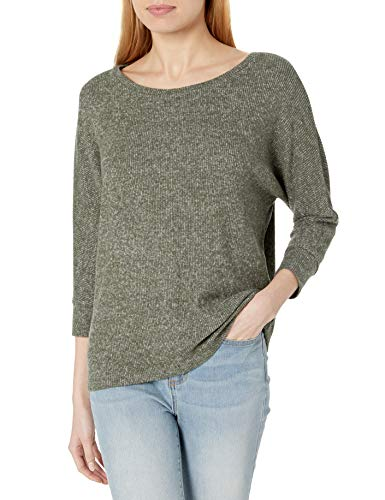 Amazon Brand - Daily Ritual Women's Cozy Knit Rib Dolman 3/4 Sleeve Sweatshirt, Olive Marl, Small