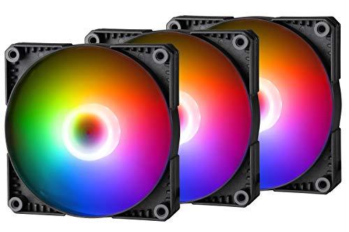 Phanteks SK120 DRGB PWM Fan 3Pack (PH-F120SK_DRGB_PWM_3P) - 3X 120mm Ventilador, diseño de nueve cuchillas de flujo de aire alto, iluminación DRGB, arandelas de amortiguación de goma - Negro