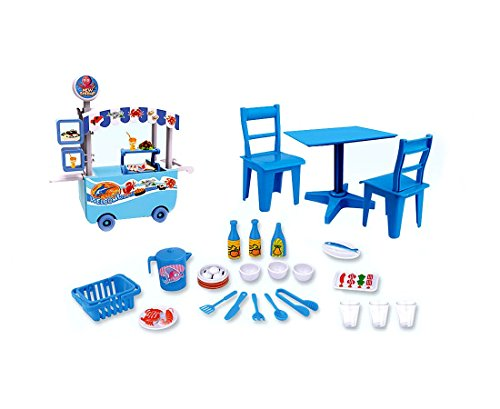 PlayMarket Plastic Mini Seafood Cart Stand Pretend Play Toy Playset 25 Pieces