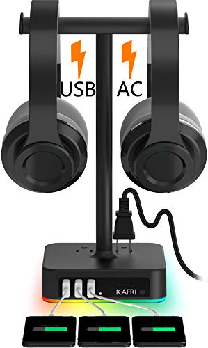 RGB Dual Headphone Stand with USB Charger KAFRI Desk Gaming Double Headset Holder Hanger Rack with 3 USB Charging Port and 2 Outlet - Suitable for Gamer Desktop Table Game Earphone Accessories Gift