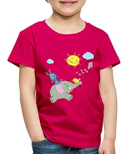 KiKANiNCHEN Kaninchen Reitet Auf Elefant Kinder Premium T-Shirt, 110-116, Dunkles Pink