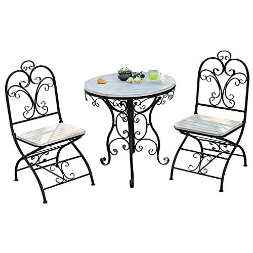 Juego de mesa y silla de jardín de 3 mesas y sillas de jardín, combinación de mesa y silla de exterior, juego de muebles de jardín, mesa y silla de comedor para balcón, juego de mesa y silla bistró