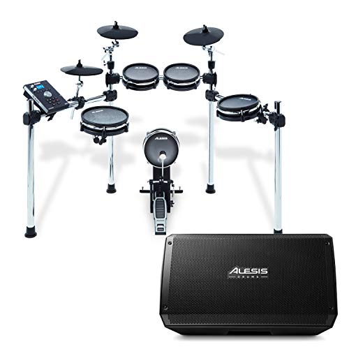 Alesis Command Mesh Kit + Strike Amp 12 | 8-Piece All-Mesh Electronic Drum Kit with Mesh Heads Bundled with 2000-Watt Ultra-Portable Powered Drum Speaker/Amplifier