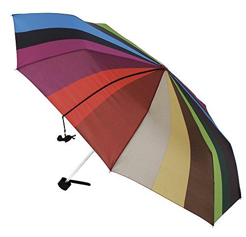 Original y Especial, así es Este Paraguas Vogue Plegable, antiviento y Acabado Teflón. Se Presenta en una Bolsa Transparente con Asas. (Franjas Multicolor)