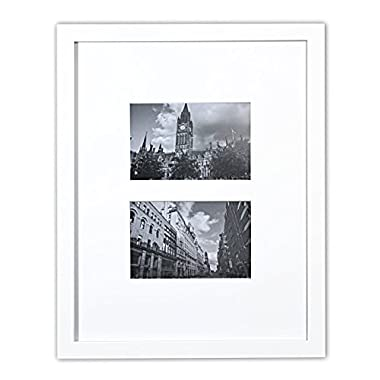 Golden State Art 11x14 Photo Wood Collage Frame with REAL GLASS and White Mat for (2) 4x6 Pictures, White
