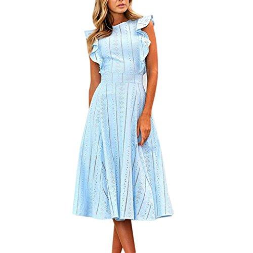 Spitze Sommerkleid Damen,Hevoiok Partykleid Sexy Casual Frauen Reißverschluss Unregelmäßige Runde Hals Strandkleid Abendkleid Midi Kleid Baumwolle (Blau, S)