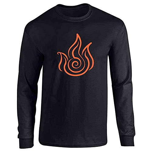 Fire Symbol Element Japanese Anime Black L Full Long Sleeve Tee T-Shirt