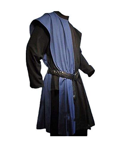 ATTAOL Hombre Tnica Medieval Traje De Escenario Halloween Cosplay Sin Cinturn Azul Tag S/EU XS