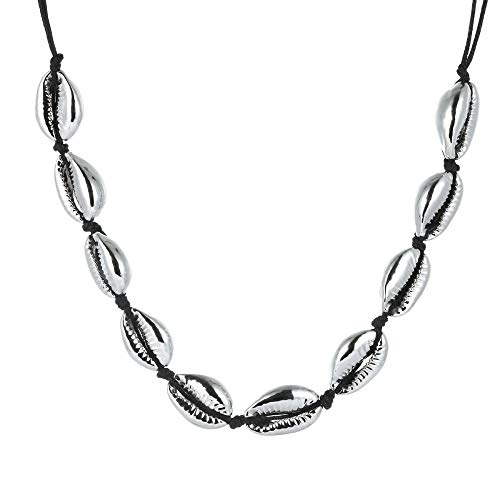 Tribal Spirit Kette Kauri-Muschel Kauri -Choker Muschelkette Silber Gold Farbe schwarz