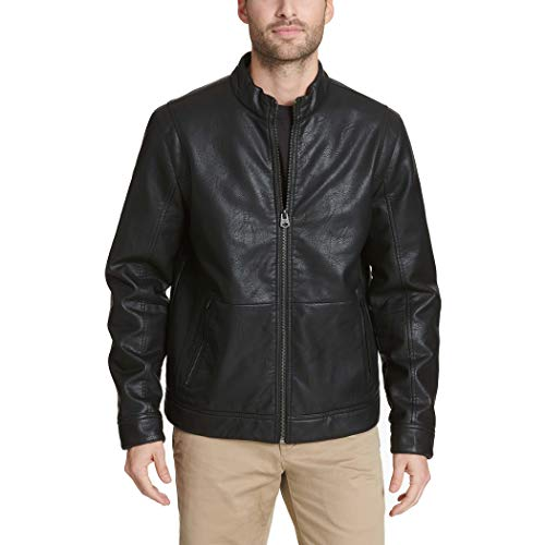 Dockers Men's The Dylan Faux Leather Racer Jacket, black, Large