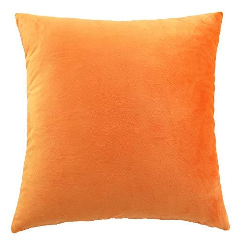 Funnie Funda de Cojín de Color sólido Square Decorativos Felpa Funda de Almohada para Hogar Dormitorio Sofá Coche Cama Fundas de Cojines Naranja 30X45CM